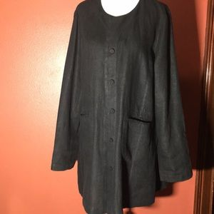 EILEEN FISHER:Black Irish Linen jacket top size M